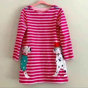 Mini Boden winter dog appliqué striped tunic dress